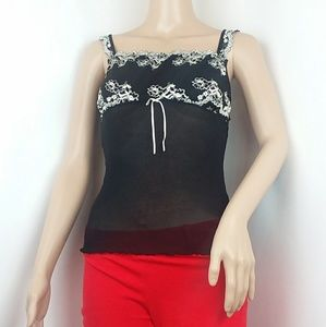 Gilligan & O'Malley Black Floral Lace Cami